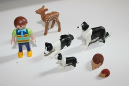 Playmobil Boy Child family figure w his house pets Black White Dog hedgehog fawn - $13.81