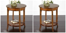 "TWO NEW LARGE 27"" SOLID WOOD BARN FINISH END SIDE TABLE VINTAGE MODERN S... - $435.60"