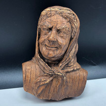 BLACK FOREST VINTAGE wood carved figurine Germany old lady kerchief woma... - $37.62