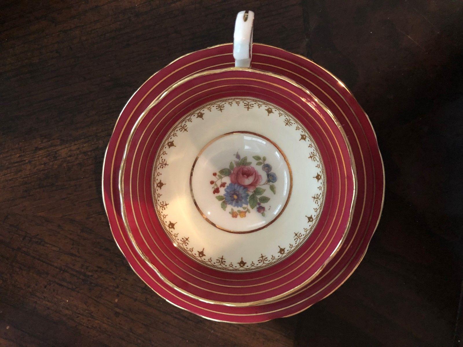 Vintage MINT Con. AYNSLEY Saucer & Tea Cup DORCHESTER 7499 Bone China England