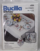 Bucilla Embroidery Stitchery Kit Napkins 16 x 16 Butterfly Serenade #492301 - $35.99