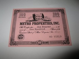 1964 Stocks & Bonds 3M Bookshelf Board Game Piece: Metro Properties 100 Shares  - $1.00