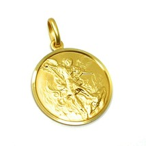 SOLID 18K YELLOW GOLD SAINT MICHAEL ARCHANGEL 19 MM MEDAL, PENDANT MADE IN ITALY image 2