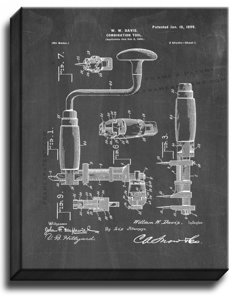 Primary image for Combination Tool Patent Print Chalkboard on Canvas