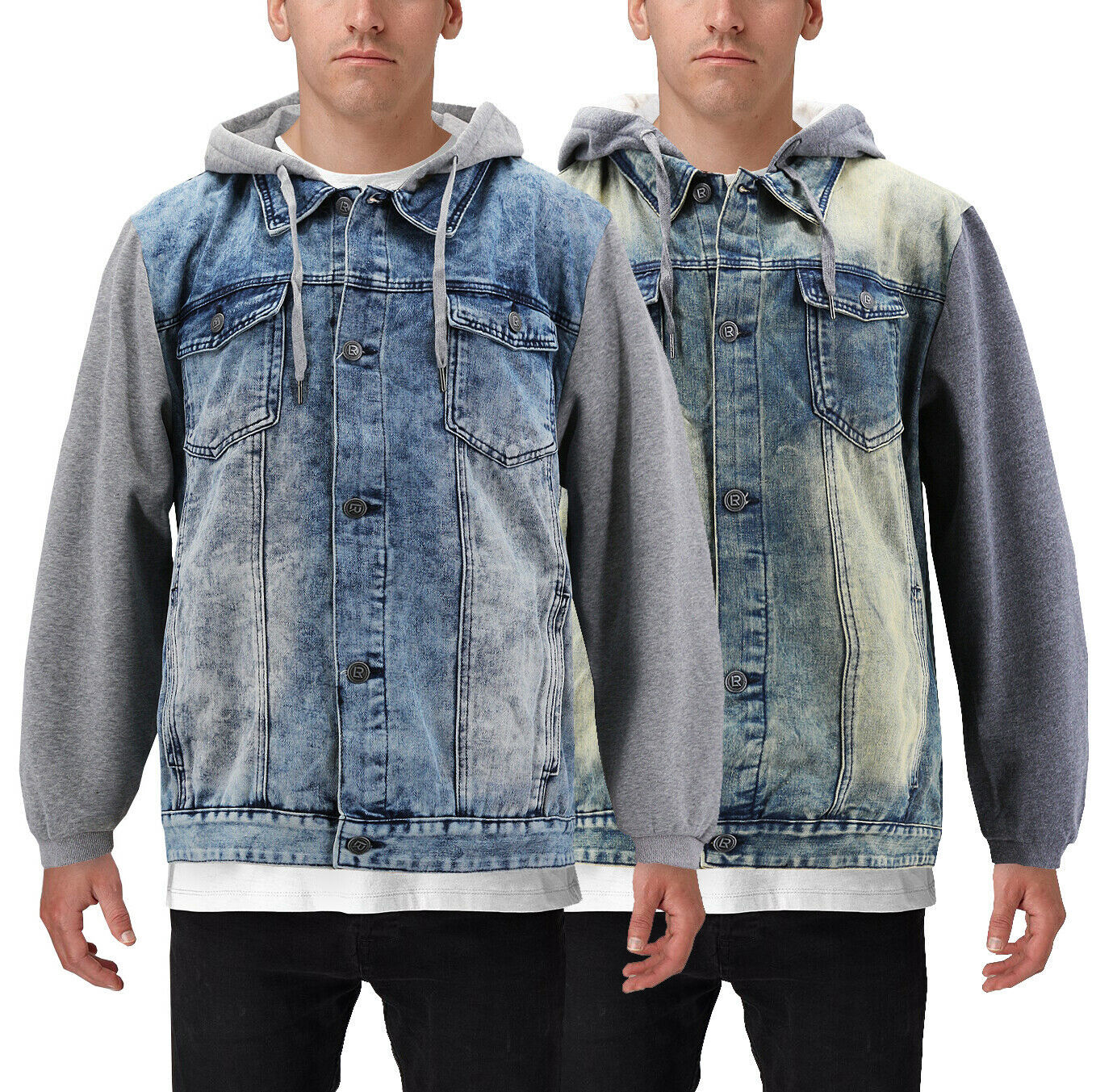 Men's Hooded Button Up Faded Denim With Jersey Sleeves Jean Trucker Jacket