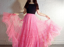 Hot Pink Tiered Tulle Skirt Plus Size Floral Hot Pink Floor Length Tulle Skirt  image 2