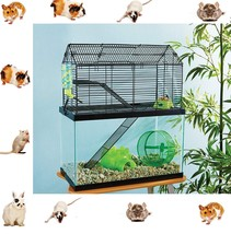 2 in 1 Cage home Animal High Rise Tank Toppe Rat Cute Chinchilla GuGuine... - $74.07