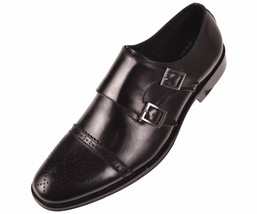 Monk Leather Shoe Genuine Asher Style 000 Black Dress Strap Mens Stowe Green qcX6f