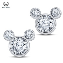 Women's Swirl Stud Earrings Diamond White Gold Plated Pure 925 Sterling ... - $35.84
