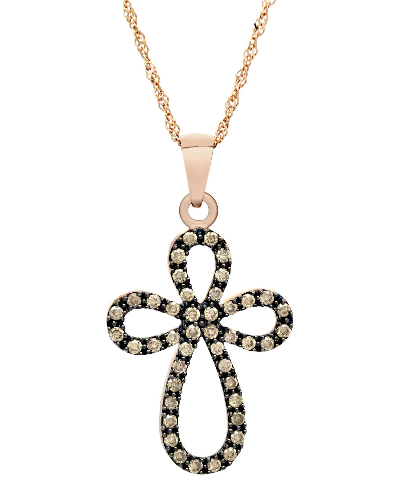 10 K Rose Gold 0.40 Ct Congac Diamond Cross Pendant with 10 K Rose Gold Chain