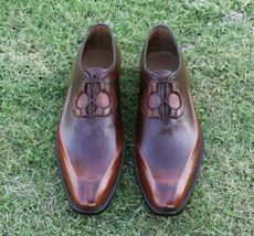 Handmade Men's Brown Fashion Dress/Formal Leather Shoes image 3