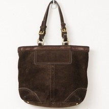 Coach Tote Bag Dark Brown Beaded Suede Leather G06S-10442 Purse - $84.15