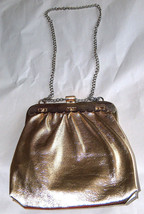 Vintage unmarked mid century shiny gold zipper wallet with/chain - $14.83