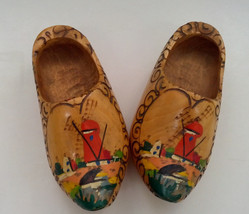 vintage wooden painted shoes wall hanging made in Holland - $23.76