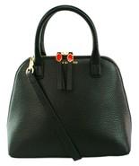 Lulu Guinness Bobbi Top Handle Bag Grainy Leather Small Handbag Black RR... - $309.93