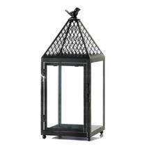 Iron Candle Lantern, Decorative Black Lantern Candle Holder - £26.59 GBP