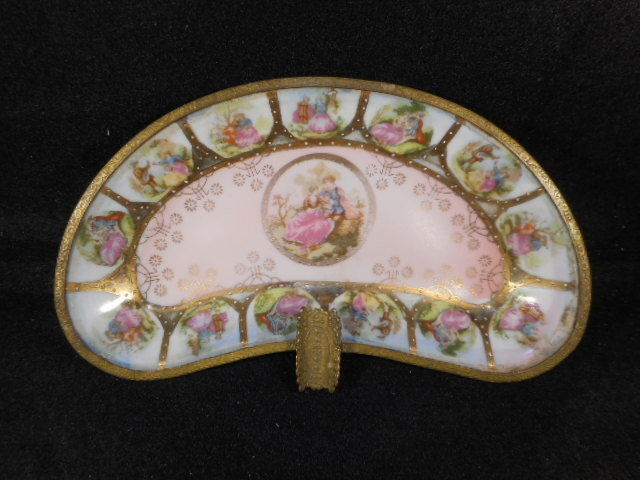 Antique Hand Painted Porcelain Brass German Portrait Ash Tray with Gold Detailng