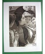 LOVELY MAIDENS French Girls in Garden - 1893 Victorian Era Antique Print - $20.21