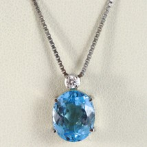 COLLAR ORO BLANCO 750 - 18 CT, COLGANTE TOPACIO AZUL OVAL Y DIAMANTE CT ... - $1,013.76