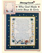 1994 Cross Stitch Why God Made Little Boys & Girls Sampler Pattern  - $12.99