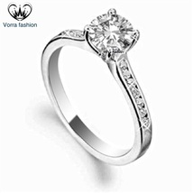Wedding Engagement Ring Round Cut CZ 14k White Gold Plated 925 Sterling ... - ₹5,032.68 INR