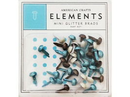 American Crafts Elements Baby Boy Mini Glitter Brads #85338