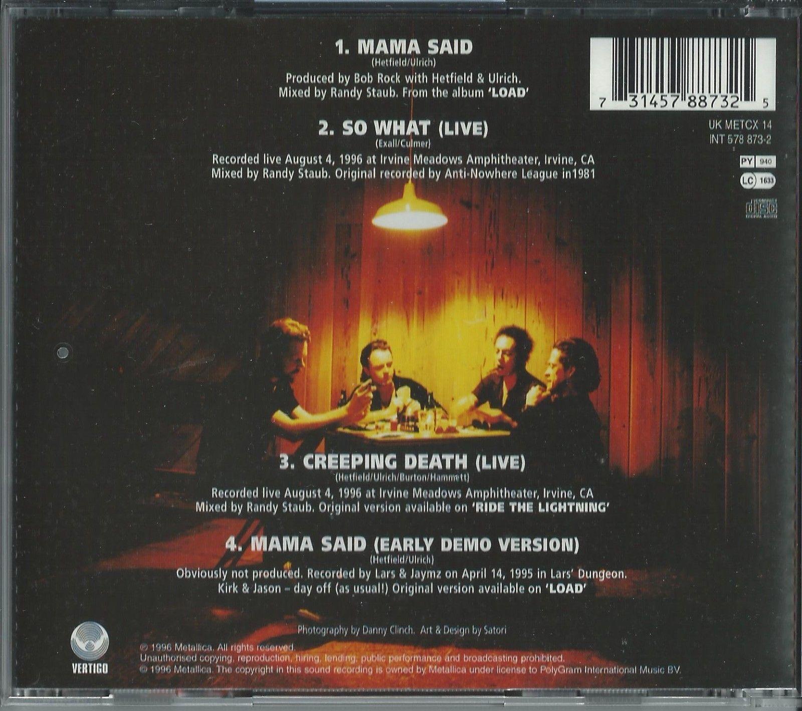 METALLICA - MAMA SAID 1996 UK CD SINGLE PART 2 VERTIGO METCX 14