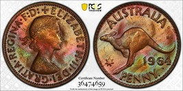 1964-P AUSTRALIA 1 ONE PENNY PCGS MS65RB ONLY 1 GRADED FINER RAINBOW TON... - $188.10