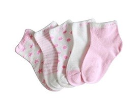 Five Pairs Summer Thin Cotton Comfortable Pink Baby Socks