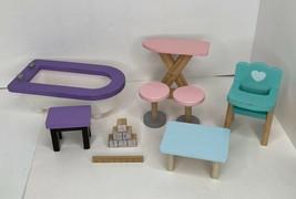 KidKraft Wooden Dollhouse Furniture Bathtub Highchair Tables Stools Lot ... - $19.79