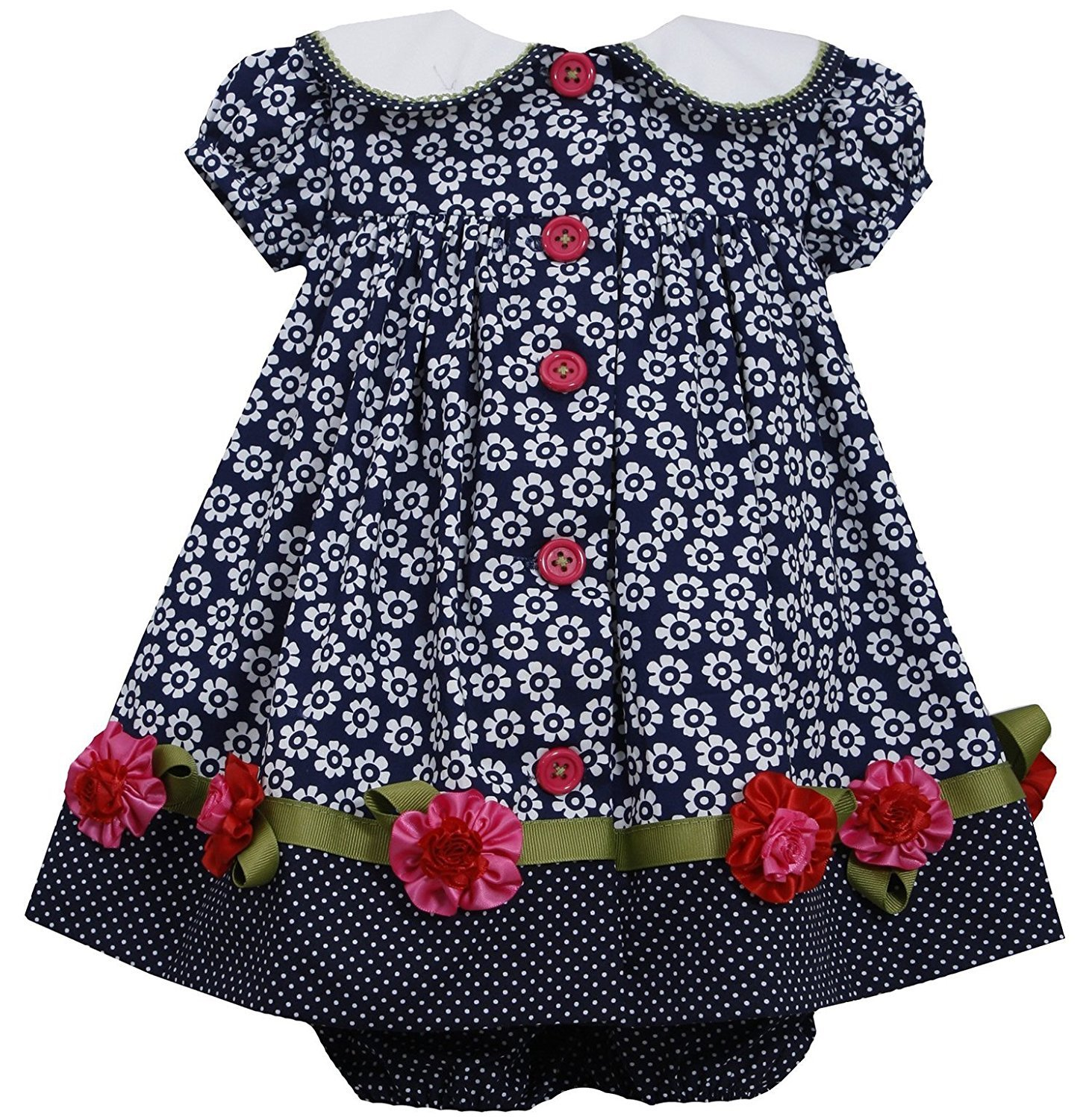 Bonnie Jean Baby Girl 3M-24M Navy-Blue White Button Front Floral Collar Dress