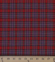 Tartan Plaids Cameron Polyester Cotton Red Green Blue Plaid Fabric BTY D157.09 - $7.99