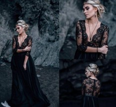 Black V-Neck Lace 3/4 Long Sleeve China Wedding Dress A Line Bridal Gowns 2019 - $168.99