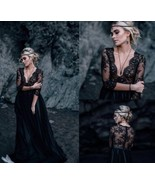 Black V-Neck Lace 3/4 Long Sleeve China Wedding Dress A Line Bridal Gown... - $168.99