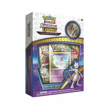 Pokemon Shining Legends Mewtwo Pin Collection Box 3 Booster Packs Promo ... - $16.50