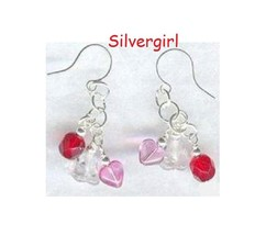 Sweetheart Flower Heart Pink Red Clear Dangle Earrings - $9.99