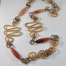 NECKLACE THE ALUMINIUM GOLDEN AND BURNISHED WITH AGATE ORANGE LONG 95 CM image 2