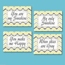 Yellow And Gray Chevron Zigzag Prints Wall Art You Are My Sunshine Nursery Decor - $13.99