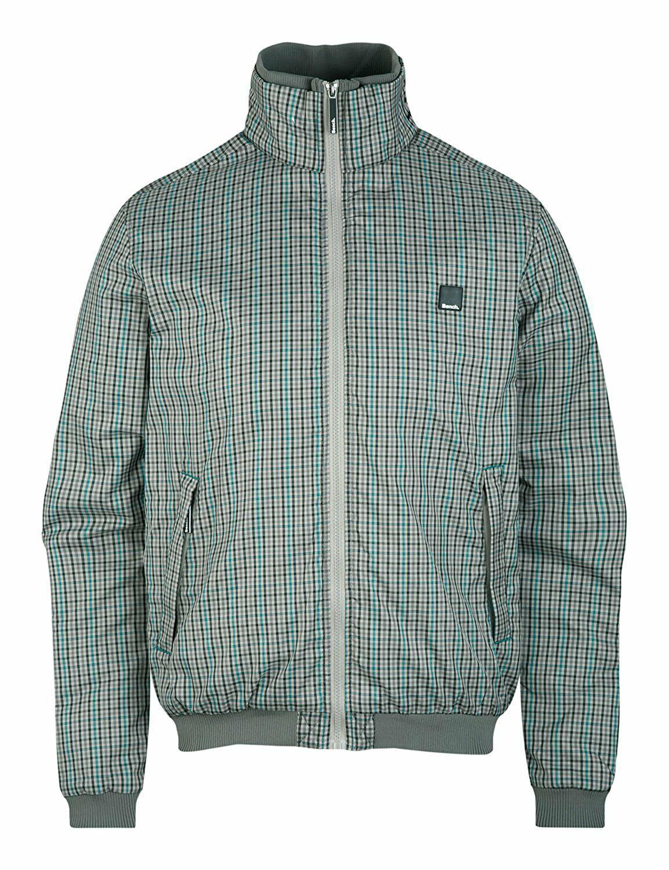 Bench UK Mens Gray Plaid Gaze Zip Up Winter Jacket with Fleece Lining NWT