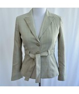 Signature by Larry Levine Tan & White Plaid Belted Blazer Jacket Womans ... - $24.18