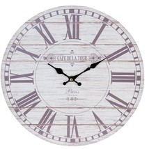 CREAM BEIGE WOOD EFFECT CAFE DE LA TOUR PARIS FRANCE WALL CLOCK 34CM - $14.79