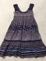 Free People 2 Purple Blue Silk Blend Floral Stripe Tunic Top Mini Dress Lace - $26.99