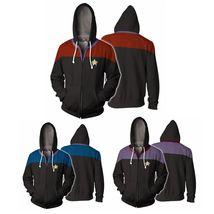 Star Trek Voyager Commander Captain Zipper Sweatshirt Costume Men Hoodie... - $21.99