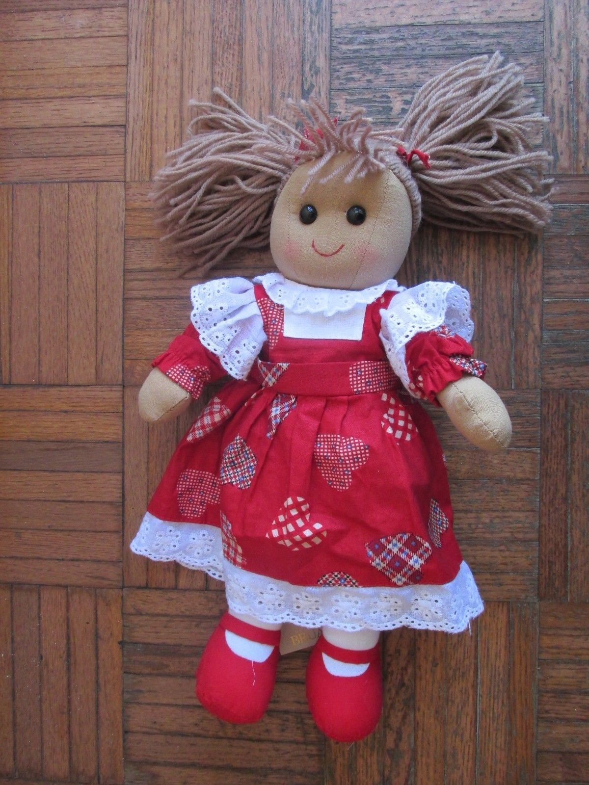 House of Bruar Scotland Rag Doll NWT Red Heart Jumper Dress Pig Tails cute