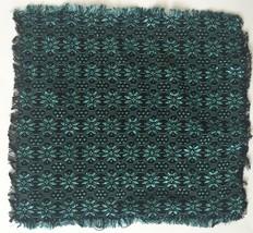 Black Blue Floral Embroidery Fabric Cloth Napkins Fringe Trim Set Of Six - $9.40