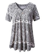 U.Vomade Women's Tunic Tops Casual Short Sleeve Blouses Summer Floral Ts... - $21.99