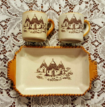 Alberopoello Italy Collectible Stoneware Cups and Tray - $25.00