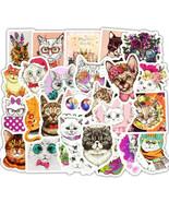 50 Cute Cat Cool Vinyl Stickers DIY Bike Laptop Skateboard Removable  Wa... - $3.97