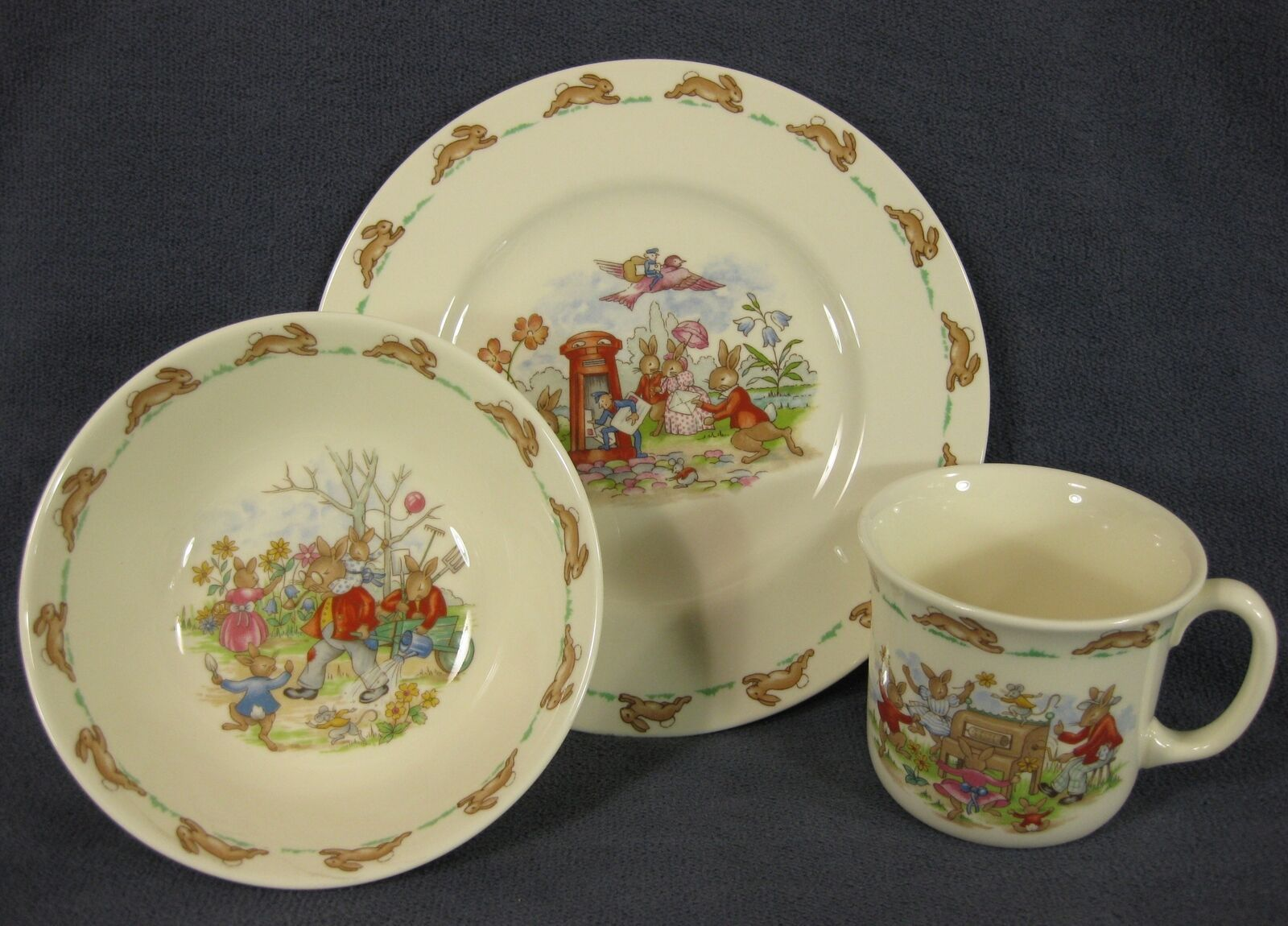 Primary image for  Royal Doulton Bunnykins 3 PC Children's Set Bowl Mug Plate Bone China England