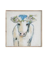 Shabby Chic Farmhouse Country Wood Wall Décor Cow & Flowers,20''SQ. - $69.30
